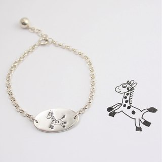 Children's Painting Jewelry / 925 Sterling Silver / Elliptical Bracelet - Running Pony / Advanced Custom