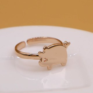 Handmade Little Pig ring - pink gold plated on brass