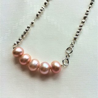 100% Home Design 925 Sterling Silver Pink Freshwater Pearl Pendant