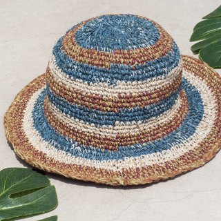 Hand-knitted cotton and linen cap knit hat fisherman hat sun hat straw hat - South American stripes blueberry coffee