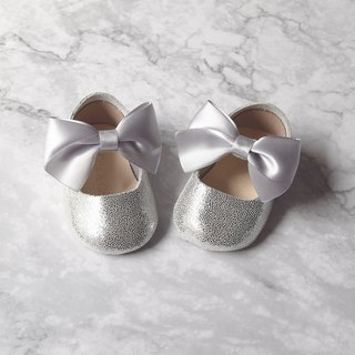 Silver Baby Girl Shoes Gift Set, Baby Shower Gift, Newborn Crib Shoes