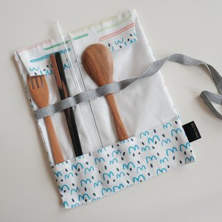 Cutlery roll striped fish print