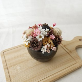 [Cake a glass of sake] ceramic dry table flower decoration