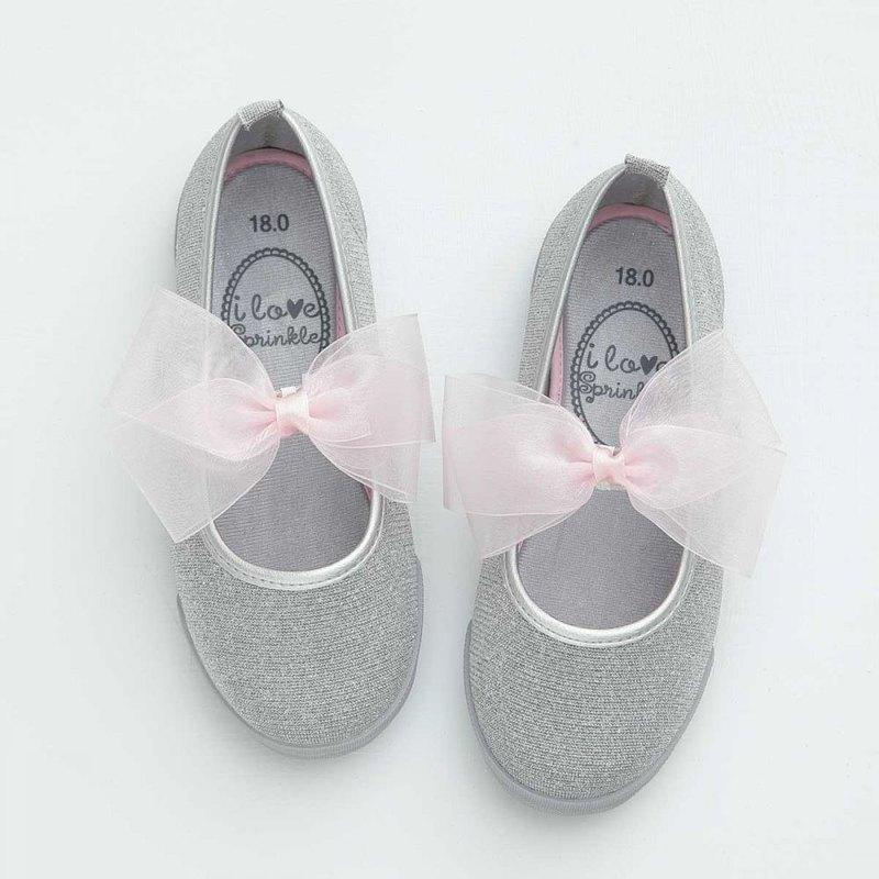 Riya閃閃銀線粉紅莎蝴蝶結娃娃鞋