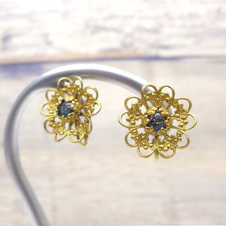 Brass and glass earrings, Lace flower, Dark Blue, Vintage, Antique