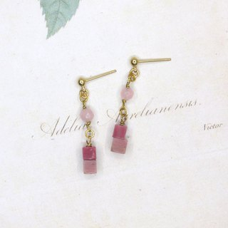 [Riitta] rose sugar cube stone Rhinestone earrings (ear clip)