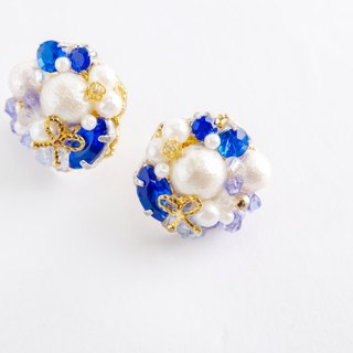 Ribbon · Pearl × Bouquet bouquet earrings (earrings) blue