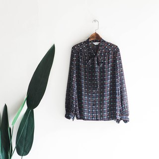 River Water Mountain - Nara tying plaid art secluded girl antique silk shirt shirt shirt