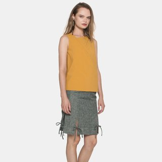 Tuck and Drape Layered Top (Mustard)