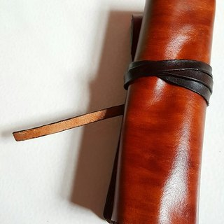 Exclusive guest dark brown + coke leather rope pure leather pen - can be lettering (custom lover, birthday gift)