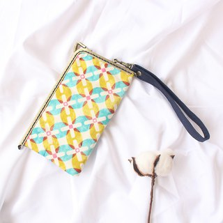 Retro style ukiyo-e painted gold crochet ring mobile phone bag / storage bag