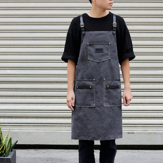 Vintage industrial charcoal black washed distressed canvas X black leather Y word shoulder strap work apron