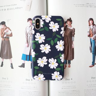 Dark blue night flower phone case