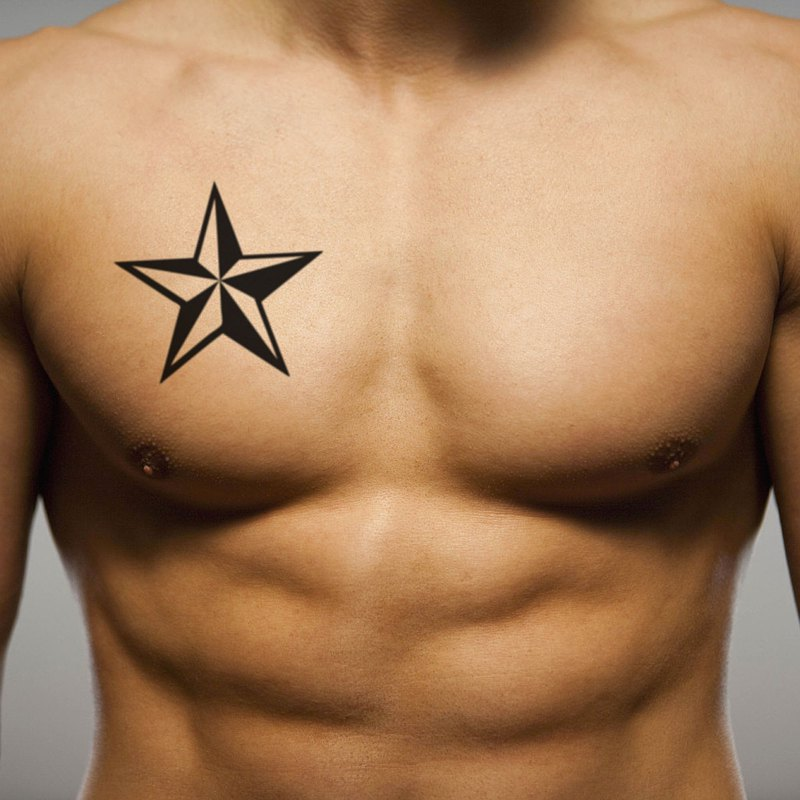 OhMyTat 男人之星 Star For Men 刺青圖案紋身貼紙 (2 張)