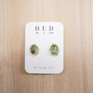 OUD Original. Geometric--14Kgf Green Quartz Gold Foil Stud Earring/Clip-on