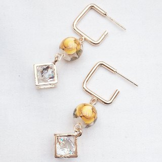 Diamond Earrings with Japanese painted beads