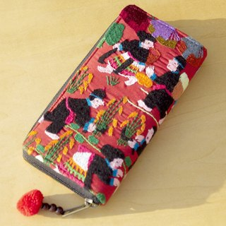Christmas market exchange gift limited a cotton wallet / hand embroidery long clip / long wallet / purse / large capacity wallet - mountain rural landscape orange