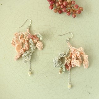 Slender Leaves Earring Peach Champagne Col Hand-Crocheted SV925 hoop Ear Clip OK