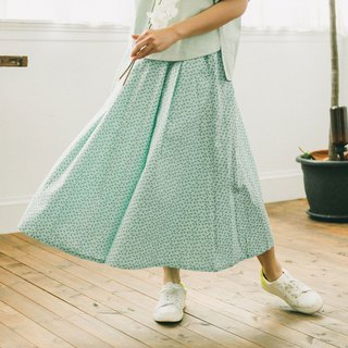 Long Skirt / Crested Myna No.4 / Mint Green