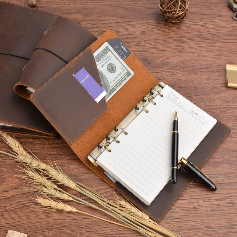 Handmade Vintage Leather Binder Travel Notes Notepad Diary Pocket Free Custom