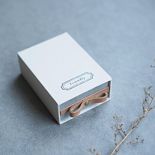 Friendly // Kinari color ) Sliding Box Leather ribbon 気持ちを伝える小さな箱
