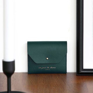 ICONIC Staff Style Leather Ticket Holder Coin Purse M-Peacock Green, ICO52224