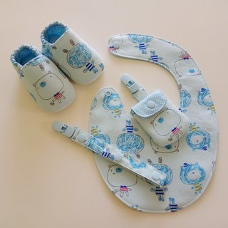 Blue bottom big head doll moon gift baby shoes + peace symbol bag + universal clip + baby bib