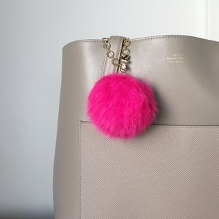 [Bag charm] Pink Real Rabbit Fur with a bird charm bringing