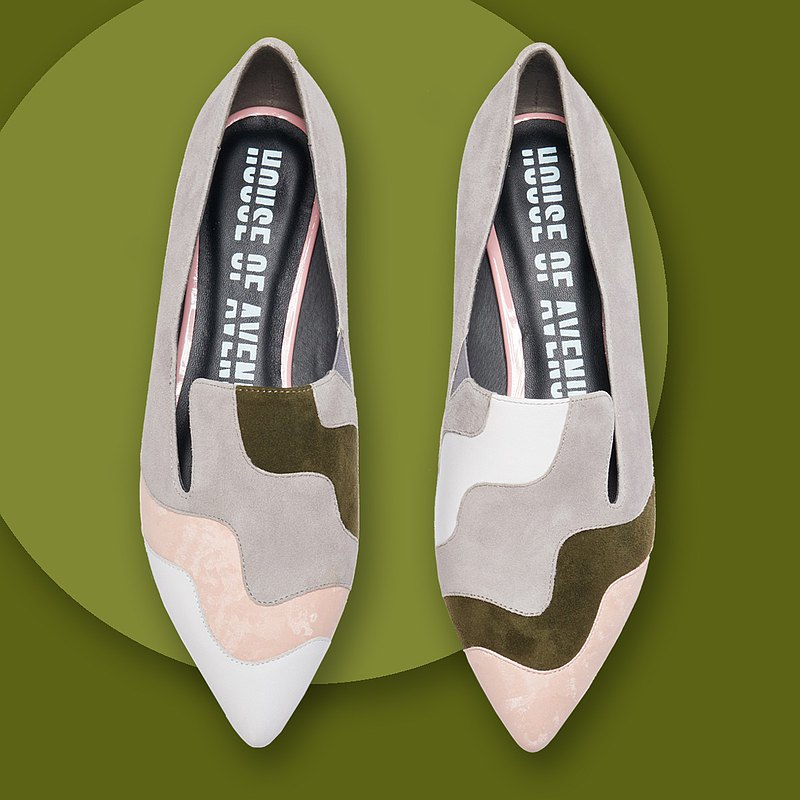 | HOA | Small pointed toe deep color block flat shoes | Grey | 5367 |