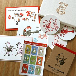 Stationary set, Cat---Letterpress gift box