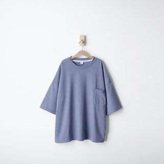 Lightweight Pocket Five-Sleeve Top - Twist Blue