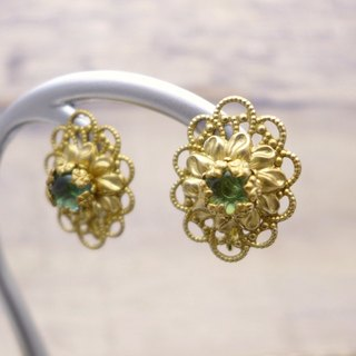 Classical oval shape, Brass and glass earrings, Emerald green