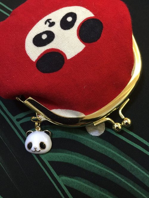 Baozi Panda small mouth gold bag [with a panda pendant]