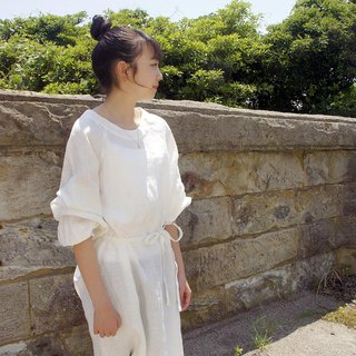 Linen 100% Volume Tack Sleeve One Piece Dress ivory