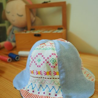 Handmade reversible Hat blue colorful pattern