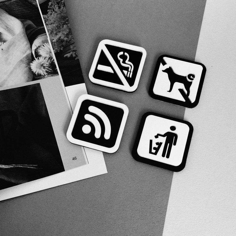 空間標示牌 (禁止停車,禁止吸菸,禁帶寵物,禁帶外食)