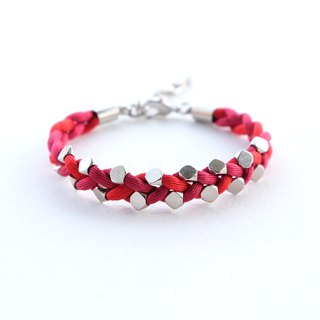 Red pink silver bead braided bracelet