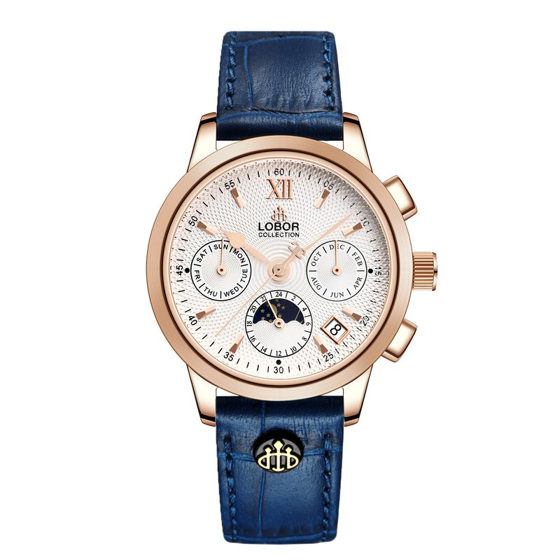 Cellini Guildford Blue 35mm Multifunction Mechanical Watch Leather Strap