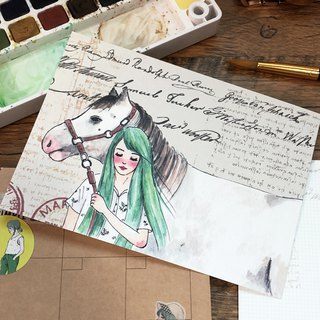 White horse and girl postcard