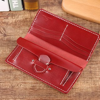 [Cut line] Italian vegetable tanned leather handmade leather ladies wallet long clip 002 wine red