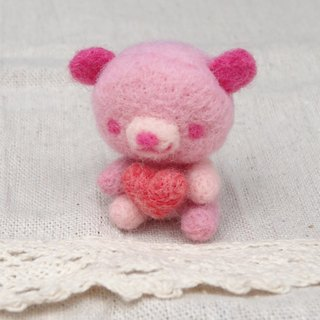 Valentine's Day Teddy Bear- Wool felt  (key ring or Decoration)