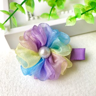 Symphony pearl yarn small flower bangs hairpin / purple blue yellow