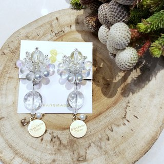 White Christmas wishes Japanese Pearl Freshwater Pearl Clip Earrings