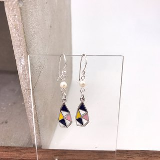 Geomeric Shapes Silver 925 & Fresh Water Pearl Earrings