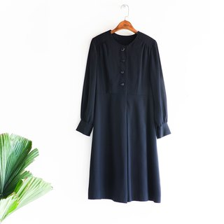 River Waters - Chiba Classic Plain Black Elegant Girl Antique Collar Silk Dress overalls oversize vintage dress