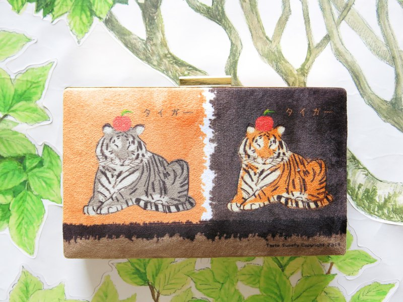 Brown orange apple tiger two-color gold bag