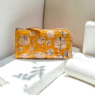 Do not hit the package lemon yellow ice crack bubble vegetable tanned leather universal wallet