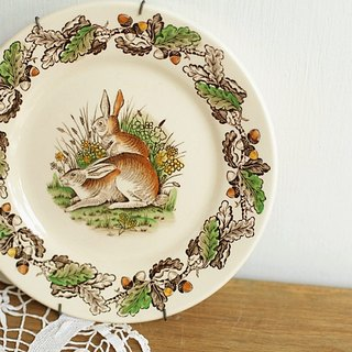 【Good day fetus】 British vintage brand hand-painted rabbit disc hanging plate