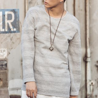 Wide stripe mesh sweater (light gray) # 8488