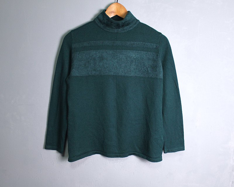FOAK vintage Italian emerald turtleneck wool coat